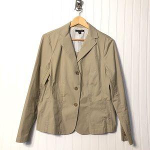 Lands End | Tan Khaki Casual Blazer Jacket Size 14